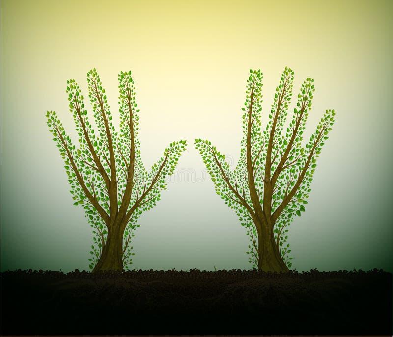 人的手看起来象与在土壤的树,并且舒展对太阳,帮助树概念,保存森林想法 皇族释放例证