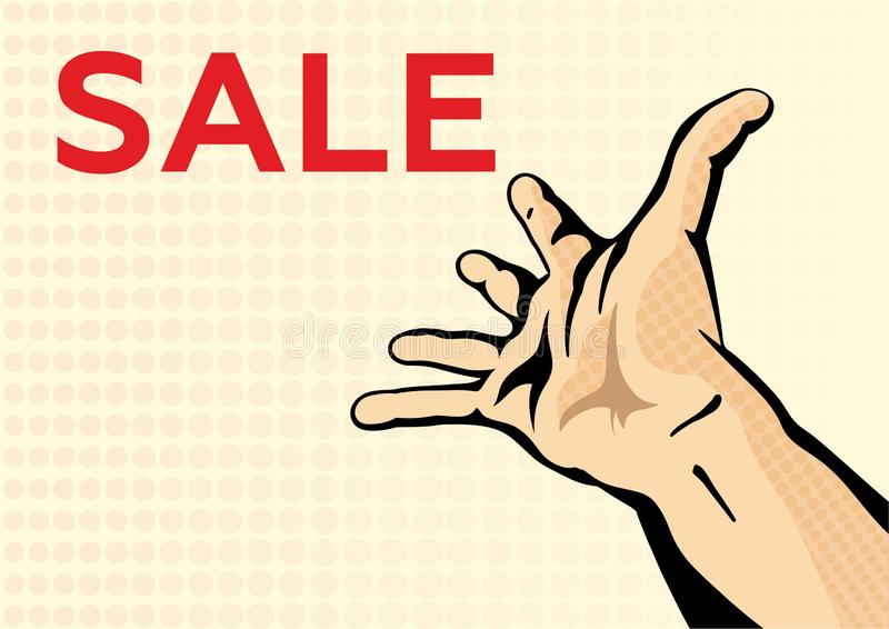 人的手舒展  海报设计折扣的,邀请,欢迎传染媒介模板 免版税图库摄影