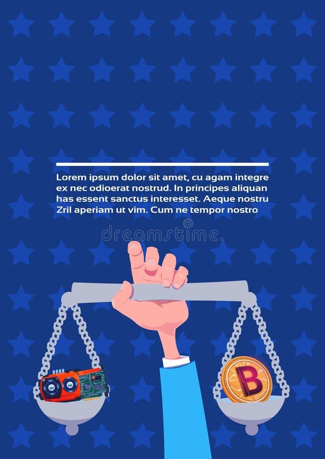 人的手藏品称在bitcoin显示卡采矿概念平的拷贝空间之间的平衡困难的选择 库存例证
