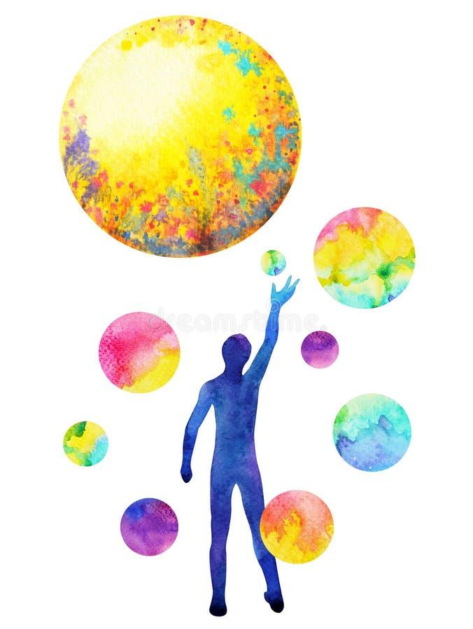 人的抓住月亮力量,启发抽象想法,世界,在您的头脑里面的宇宙 向量例证