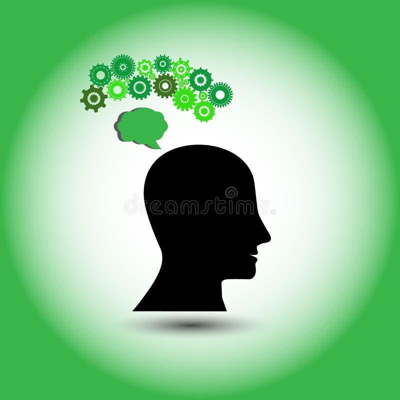 人的概念认为绿色的,创新想法 皇族释放例证