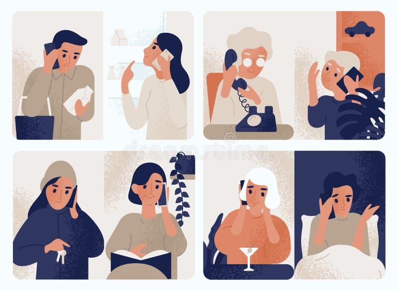 人的汇集谈话在手机 沟通通过智能手机的捆绑男人和妇女 设置电话 向量例证