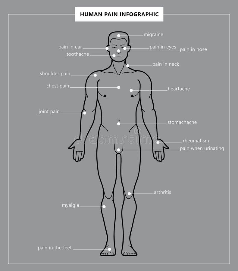 人的痛苦和人解剖学 库存例证