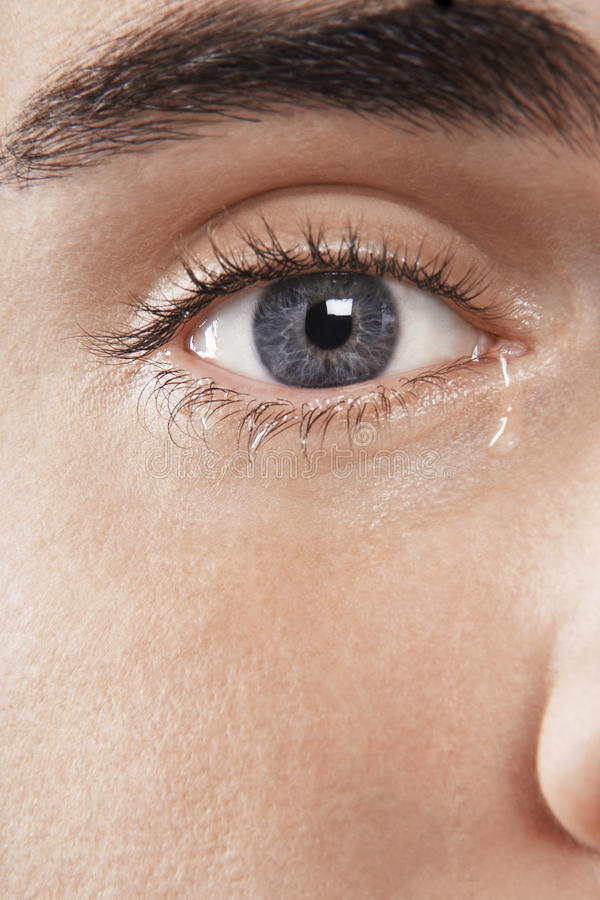 人的眼睛哭泣 免版税库存照片