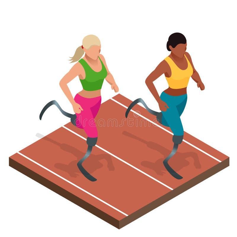 人的等量体育有残疾活动的 有残障的运动员 有障碍的运动员在体育场 库存例证