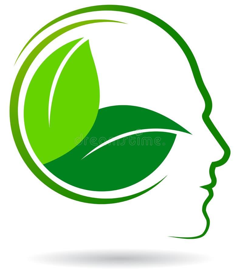 人的绿色商标喜欢脑子 库存例证