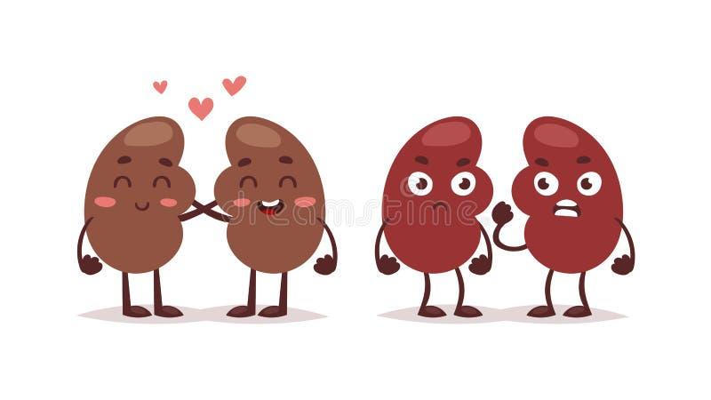 人的肝脏字符传染媒介 库存例证