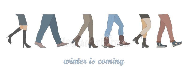 人的腿编组走在冬天鞋子 向量例证