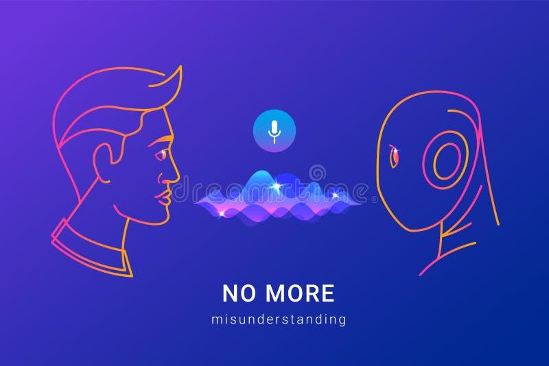 人的语音识别和聪明的协助 向量例证