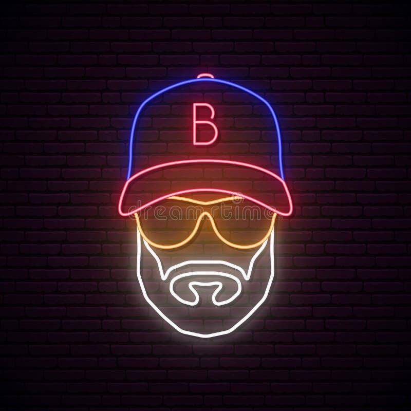 人的霓虹具体化有棒球帽的 向量例证