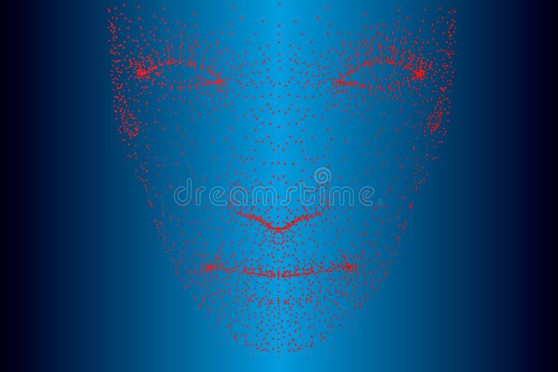 人的面孔的投射包括红色小点的 o r 向量例证