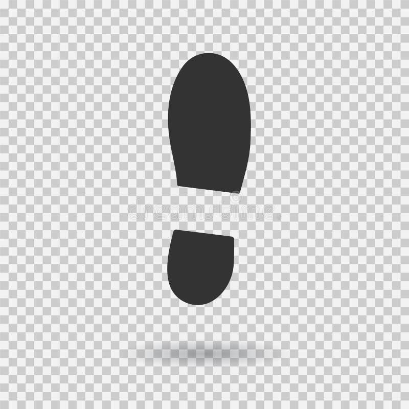 人的鞋子脚印象 传染媒介鞋类 平的样式 黑色剪影 与阴影的例证 向量例证