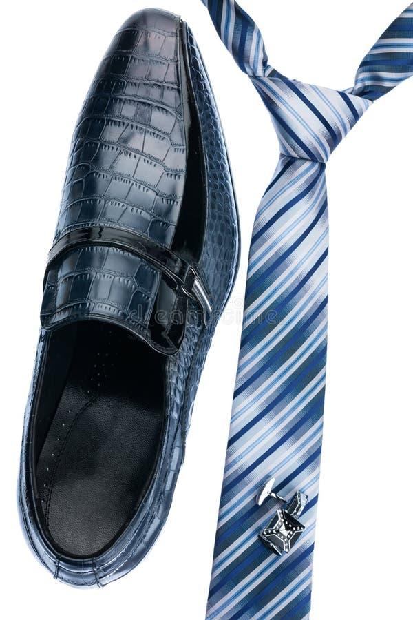 人的鞋子,领带,链扣,经典样式 免版税库存图片