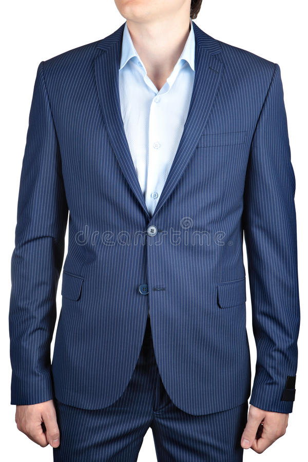 人的细条纹布料的蓝色,偶然或者正式舞会燃烧物,白色的 库存图片
