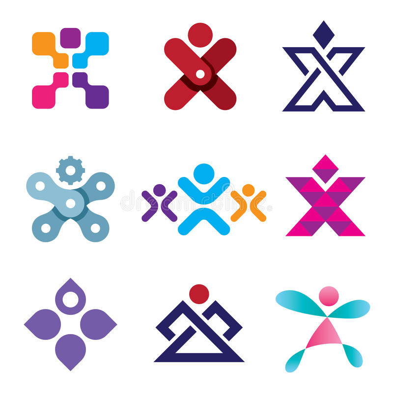 人的X形状后者创造性设计象集合 向量例证