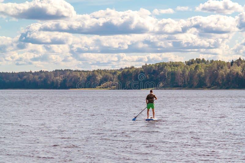 人直立的桨搭乘 冲浪在湖的年轻人一口的图象 图库摄影
