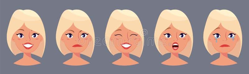 年轻人相当白肤金发的妇女,用不同的情感的逗人喜爱的面孔 动画片美丽的女孩 皇族释放例证