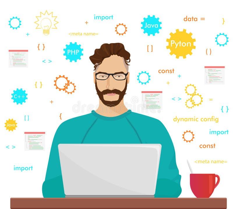 人程序员行家在他的膝上型计算机工作编制程序并且编程 程序员php代码职业概念 库存例证