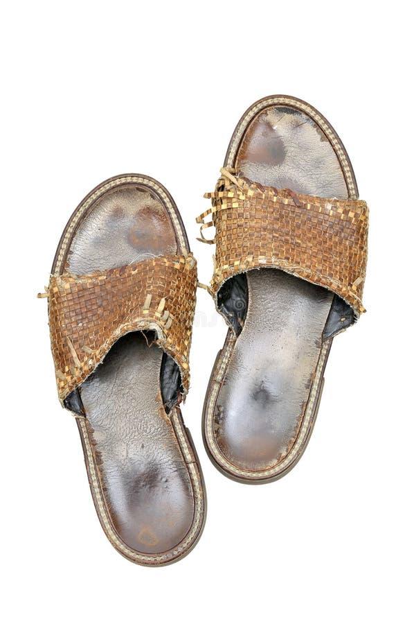 人穿上鞋子破旧 免版税库存照片