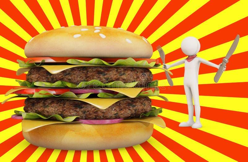 人立即可食的汉堡包 库存例证
