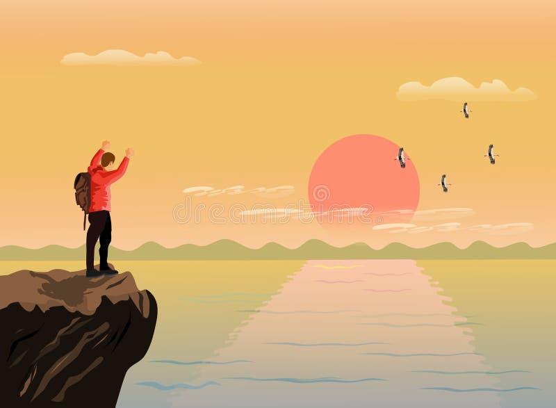 人站立了并且愉快地显示了他的在山的上面的手 有海和日落背景 向量例证