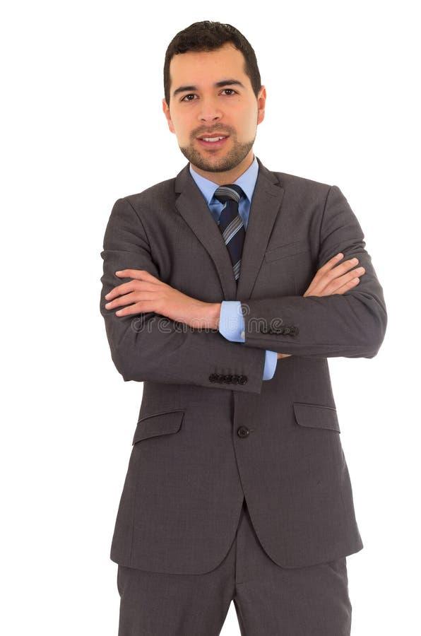 人站立在衣服的横穿胳膊 免版税库存图片
