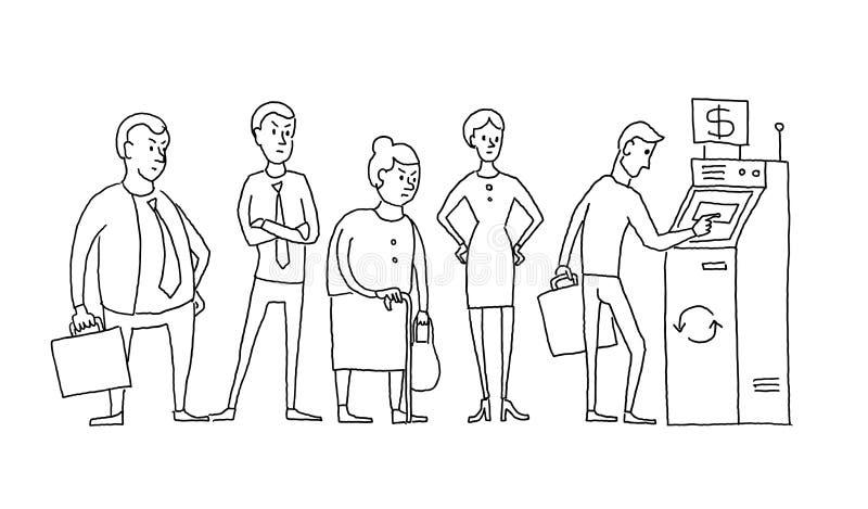人站立的和排队的队列atm现金分送器 人排队 手拉的黑线传染媒介股票图片