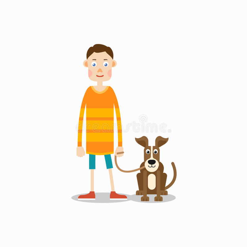 年轻人站立,并且他的狗在他旁边坐 库存例证