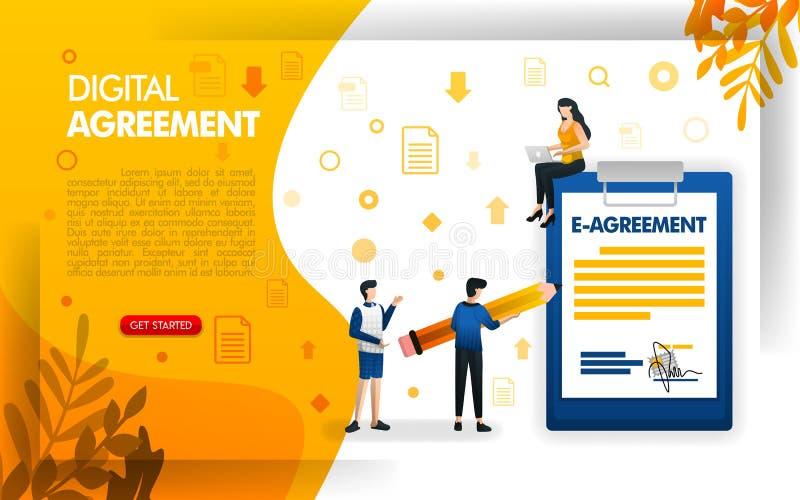 人签署的协议或合同、数字协议企业的和公司,概念传染媒介ilustration 能使用为, 库存例证