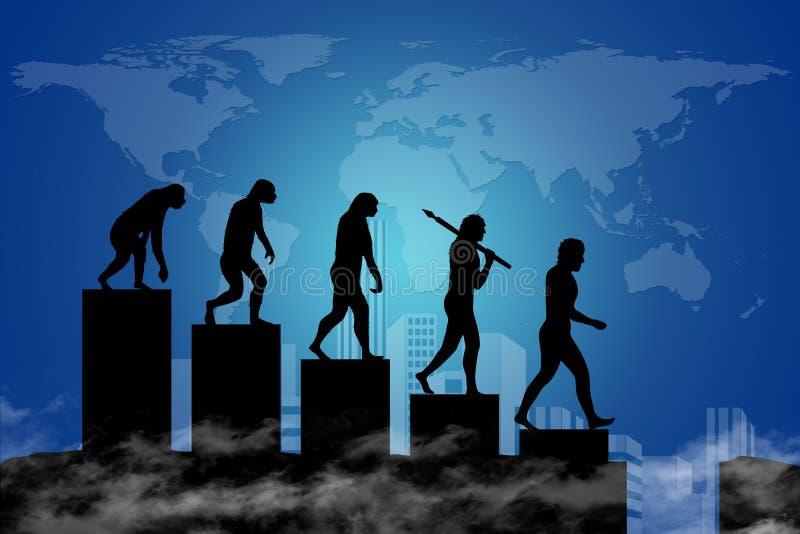 人类演变到现代世界里 库存例证