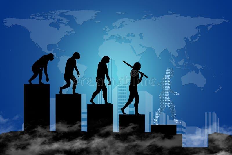 人类演变到现代世界里 向量例证