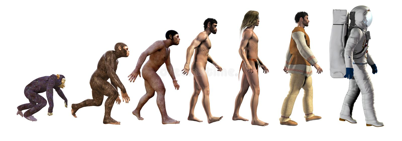 人类演变,从猿到空间,3d例证 免版税库存照片