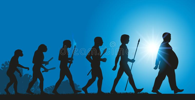 人类的演变往增量的在肥胖病由于恶劣的饮食 库存例证
