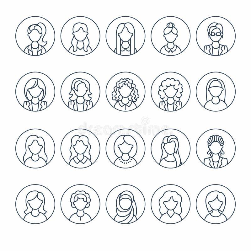 人线象,女商人具体化 概述女性行业,经理,老师,学生秘书的,标志 向量例证