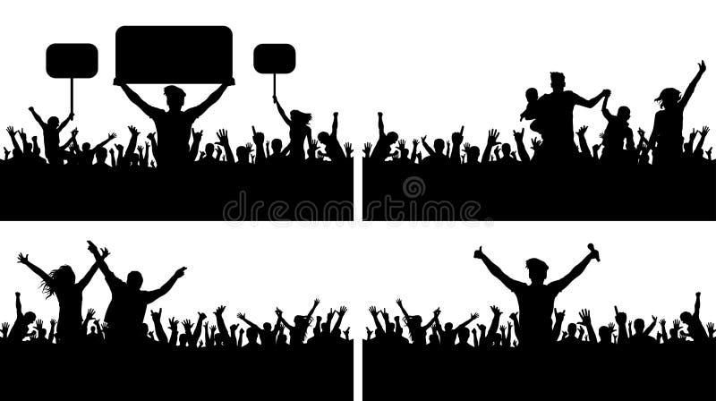 人群人掌声音乐会传染媒介剪影集合 体育冠军爱好者 库存例证