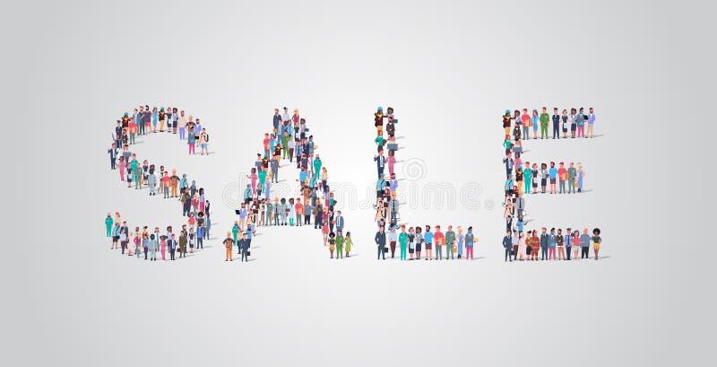 人群以销售词形式聚集,不同职业的员工将种族工人群体组合在一起 库存例证