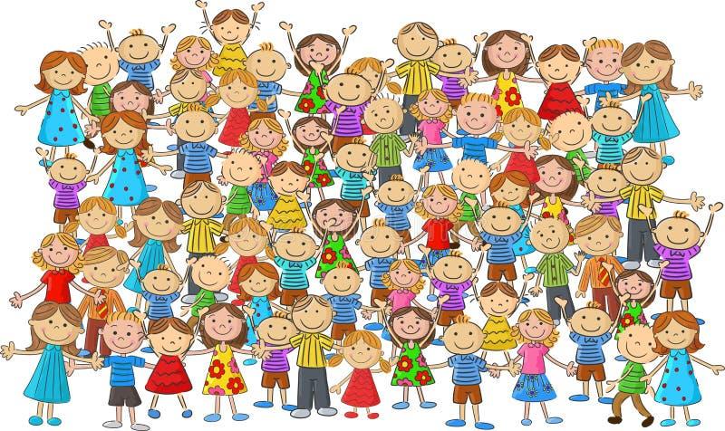 人群儿童动画片 向量例证