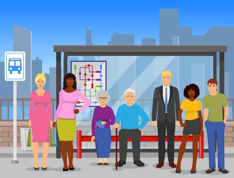 人群公共汽车站平的构成海报 皇族释放例证