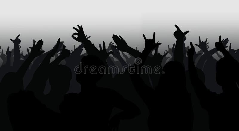 人群剪影用被举的手 皇族释放例证
