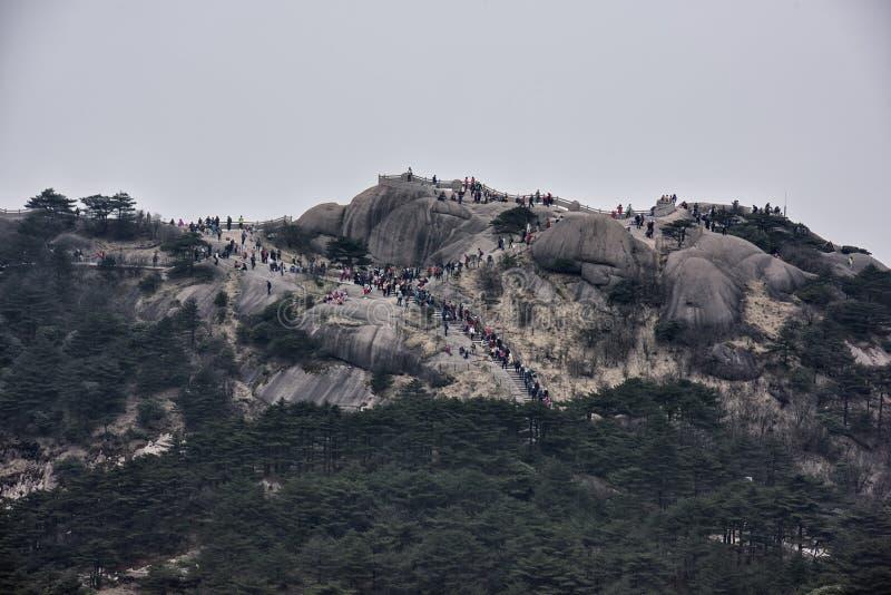 人群在黄山-黄色山,中国聚集 库存图片