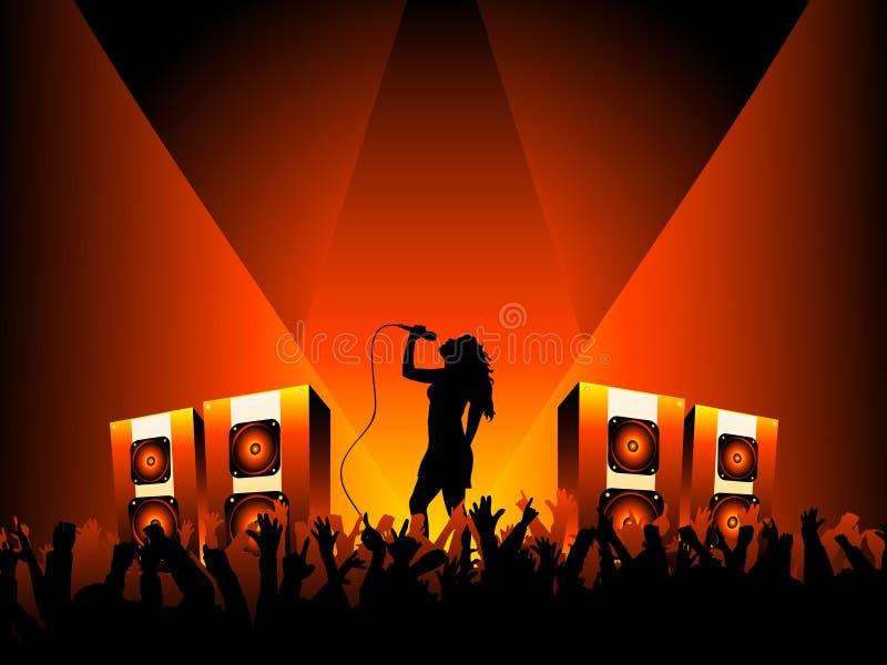 人群女歌手 向量例证