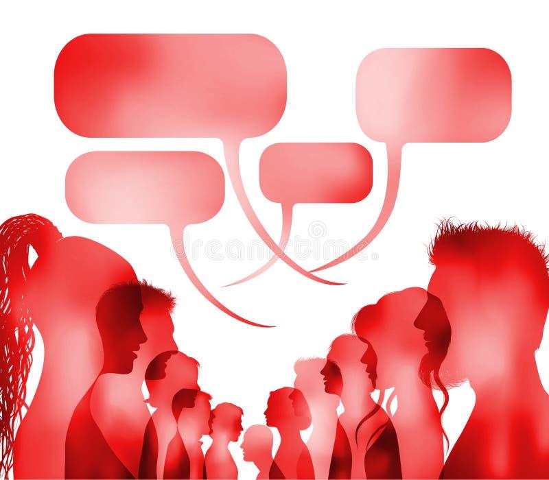 人群讲话 r 小组被隔绝的人谈话 红色剪影顶头外形面孔 r ?? 库存例证