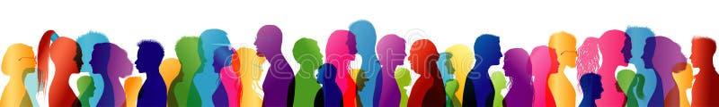 人群谈话 通信概念组人联系 告诉 沟通 色的剪影外形 库存照片