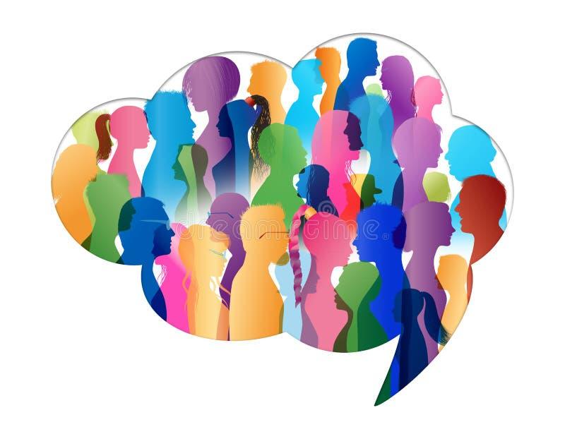 人群谈话 通信概念组人联系 通信 泡影图象人员演讲联系的向量 在云彩形状的色的剪影人外形 向量例证