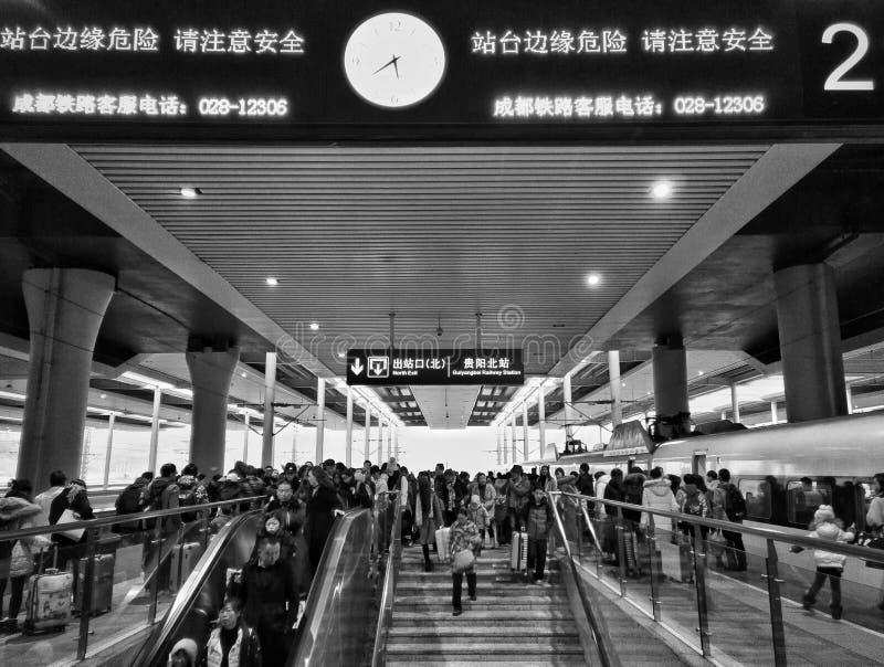 人群高铁驻地 免版税库存图片