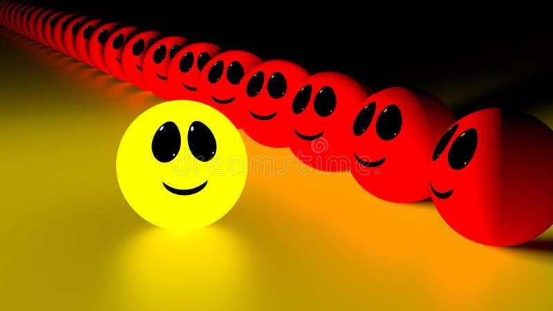 从人群黄色微笑的面孔引人注意 向量例证