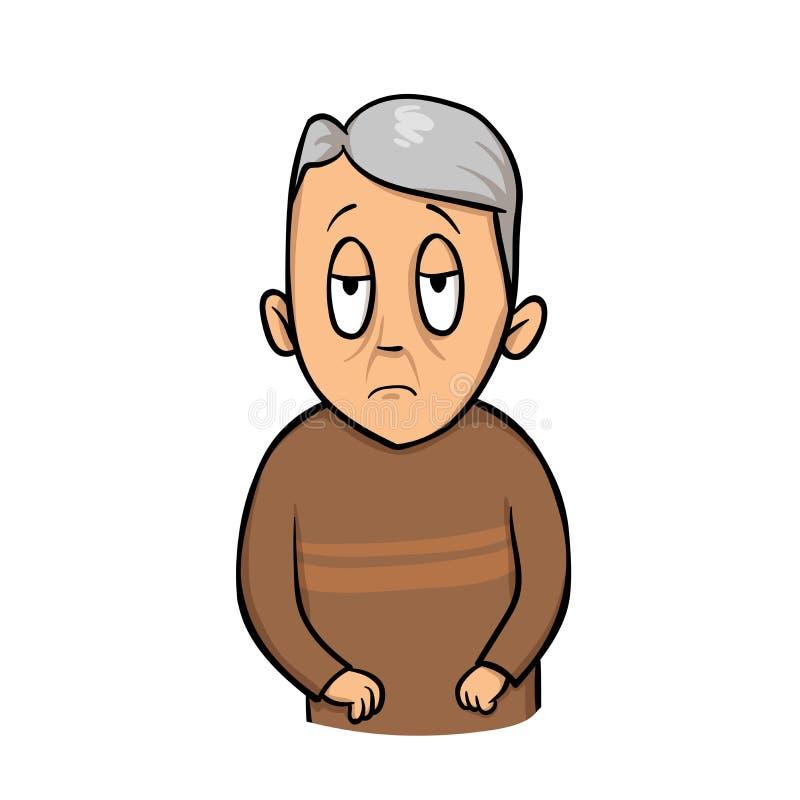 人老哀伤 不快乐的祖父 平的传染媒介例证 背景查出的白色 向量例证