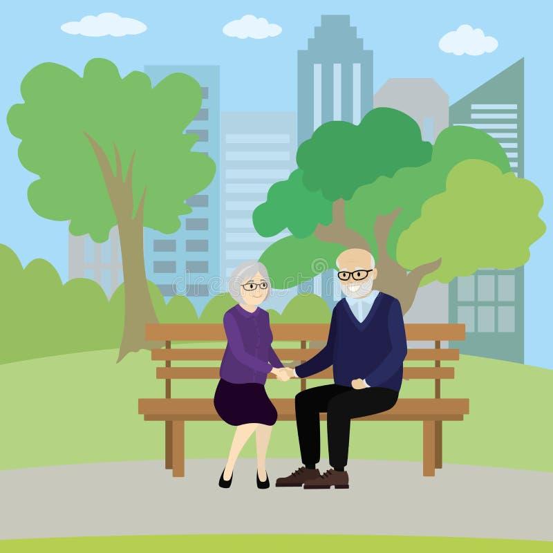 人老夫妇坐一条长凳在公园 皇族释放例证