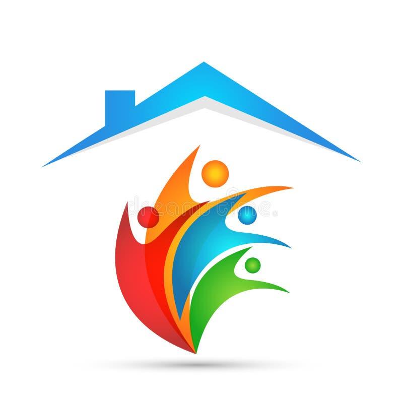 人联合房子房地产房子爱幸福健康庆祝标志象元素在白色背景的商标设计 向量例证