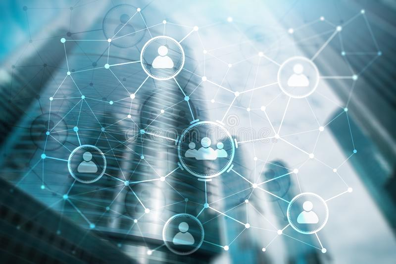 人联系和组织结构 束起通信有概念的交谈媒体人社交 事务和通讯技术概念 皇族释放例证